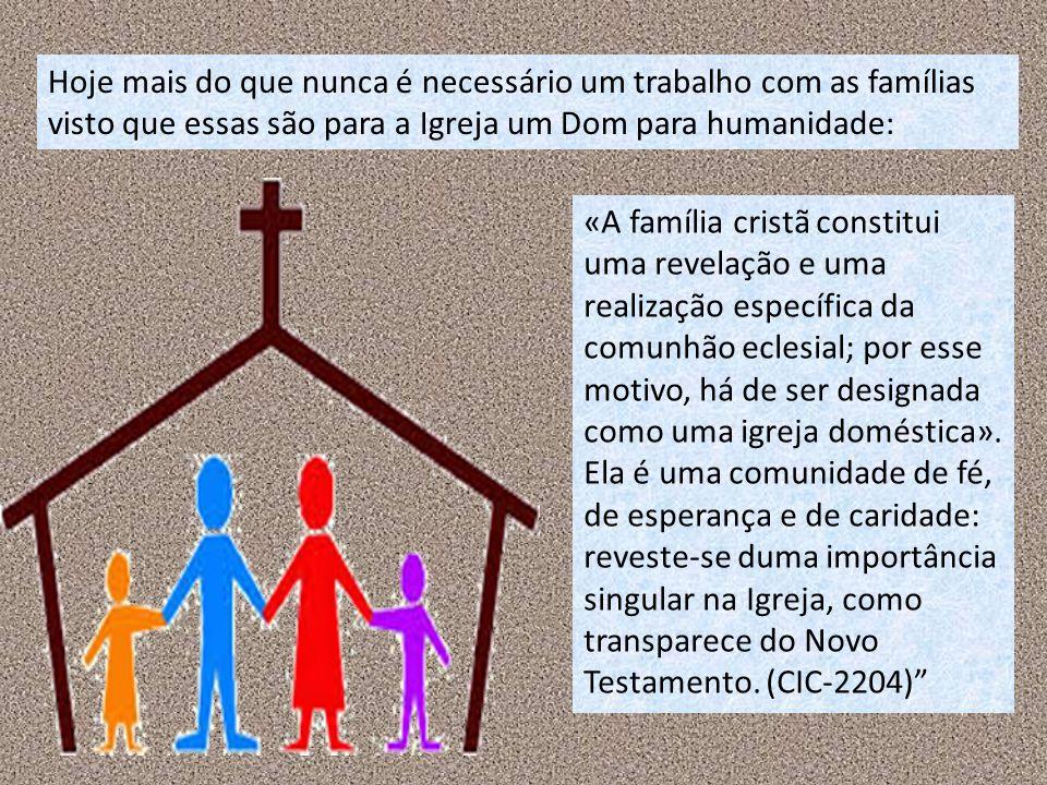 Hoje mais do que nunca é necessário um trabalho com as famílias visto que essas são para a Igreja um Dom para humanidade: «A família cristã constitui