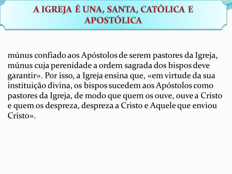 múnus confiado aos Apóstolos de serem pastores da Igreja, múnus cuja perenidade a ordem sagrada dos bispos deve garantir». Por isso, a Igreja ensina q