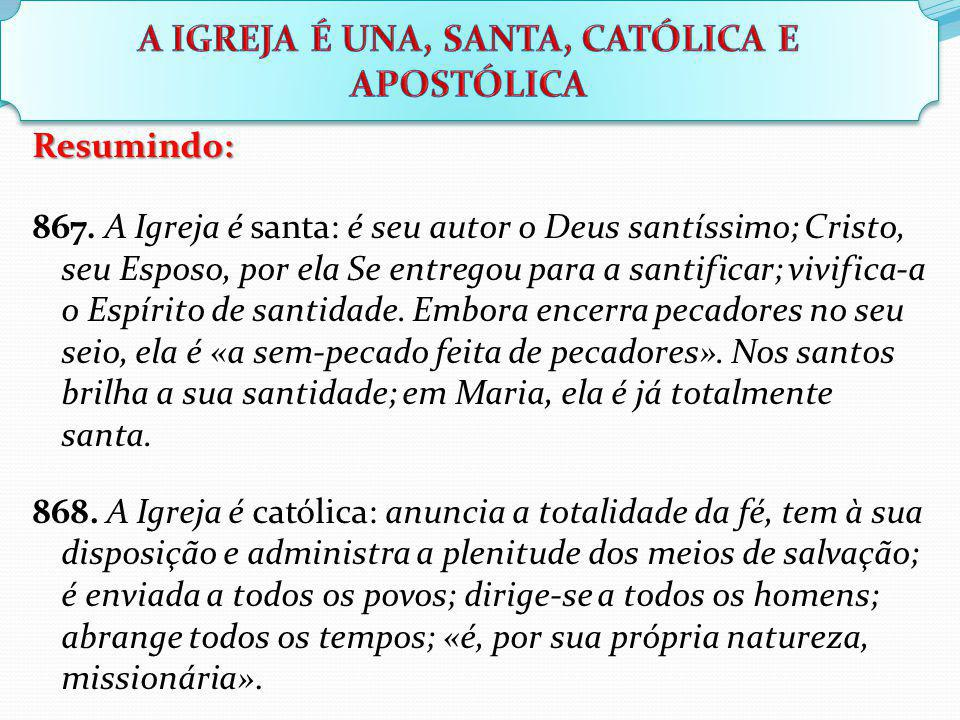 Resumindo: 867. A Igreja é santa: é seu autor o Deus santíssimo; Cristo, seu Esposo, por ela Se entregou para a santificar; vivifica-a o Espírito de s