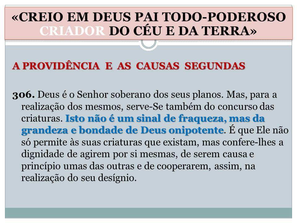 A PROVIDÊNCIA E AS CAUSAS SEGUNDAS Isto não é um sinal de fraqueza, mas da grandeza e bondade de Deus onipotente 306.