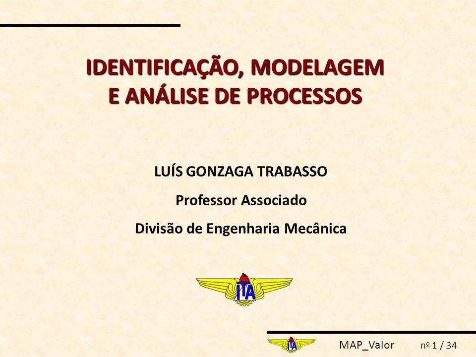 MAP_Valor n o 1 / 34 IDENTIFICAÇÃO, MODELAGEM E ANÁLISE DE PROCESSOS LUÍS GONZAGA TRABASSO Professor Associado Divisão de Engenharia Mecânica