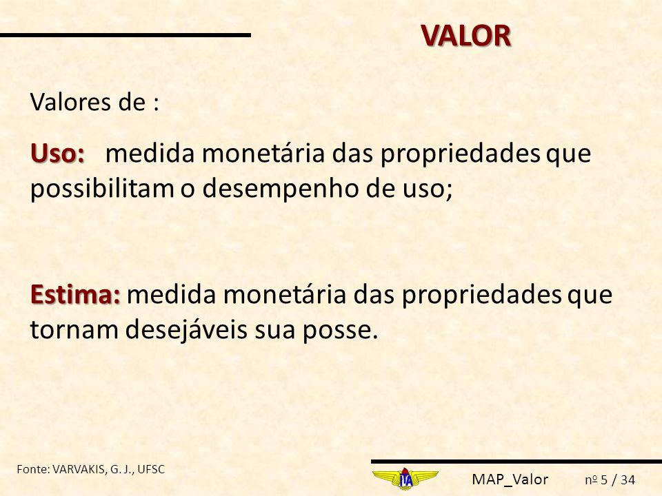 MAP_Valor n o 5 / 34 Uso: Uso: medida monetária das propriedades que possibilitam o desempenho de uso; Estima: Estima: medida monetária das propriedad