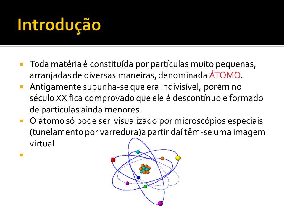  Toda matéria é constituída por partículas muito pequenas, arranjadas de diversas maneiras, denominada ÁTOMO.  Antigamente supunha-se que era indivi
