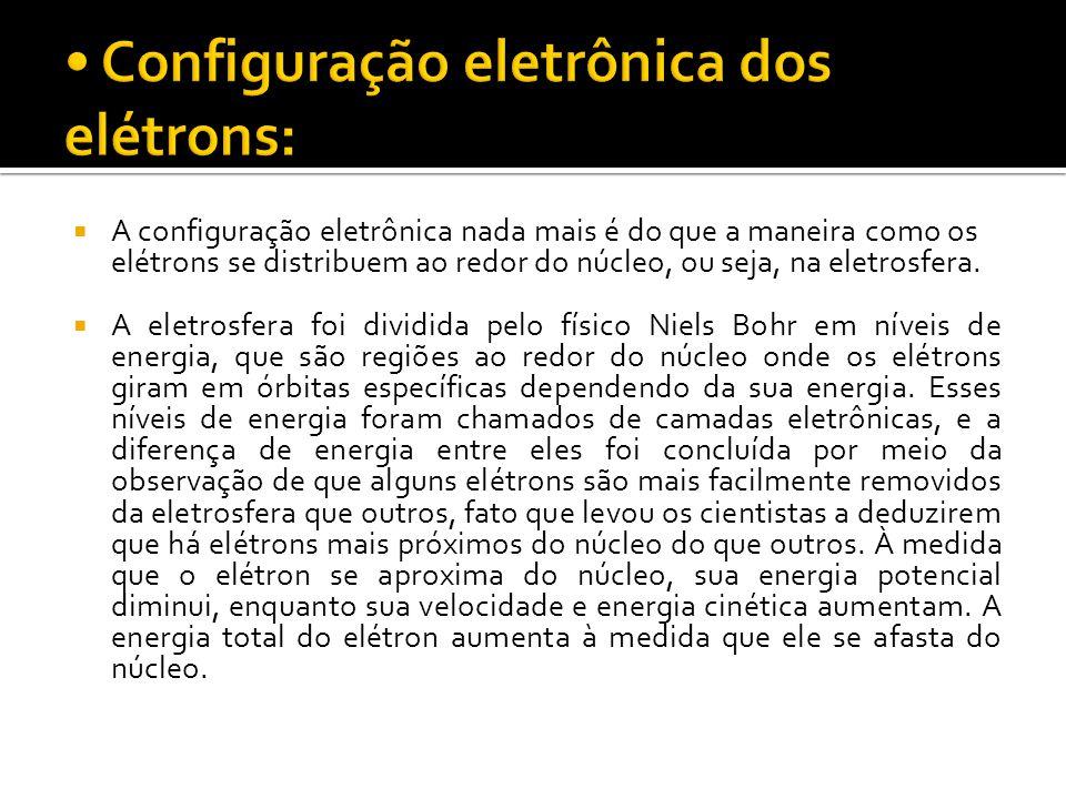  A configuração eletrônica nada mais é do que a maneira como os elétrons se distribuem ao redor do núcleo, ou seja, na eletrosfera.