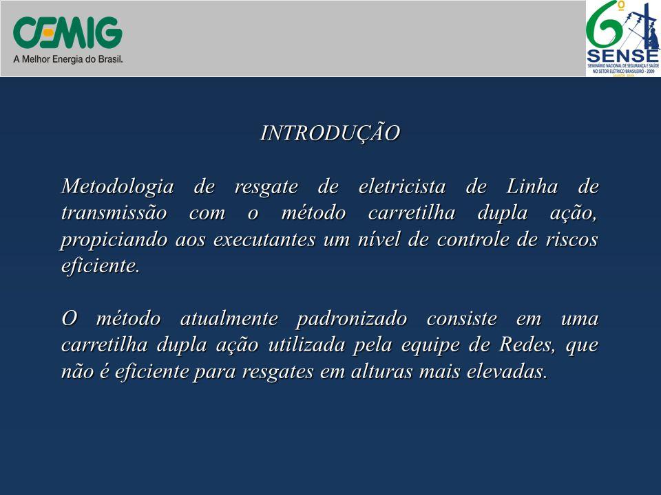 INTRODUÇÃO Metodologia de resgate de eletricista de Linha de transmissão com o método carretilha dupla ação, propiciando aos executantes um nível de c