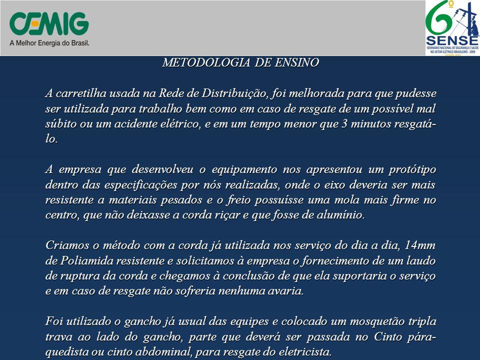 METODOLOGIA DE ENSINO A carretilha usada na Rede de Distribuição, foi melhorada para que pudesse ser utilizada para trabalho bem como em caso de resga