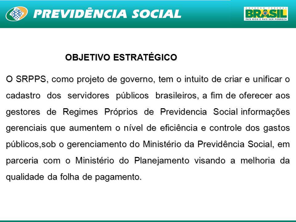 2 OBJETIVO ESTRATÉGICO O SRPPS, como projeto de governo, tem o intuito de criar e unificar o cadastro dos servidores públicos brasileiros, a fim de of
