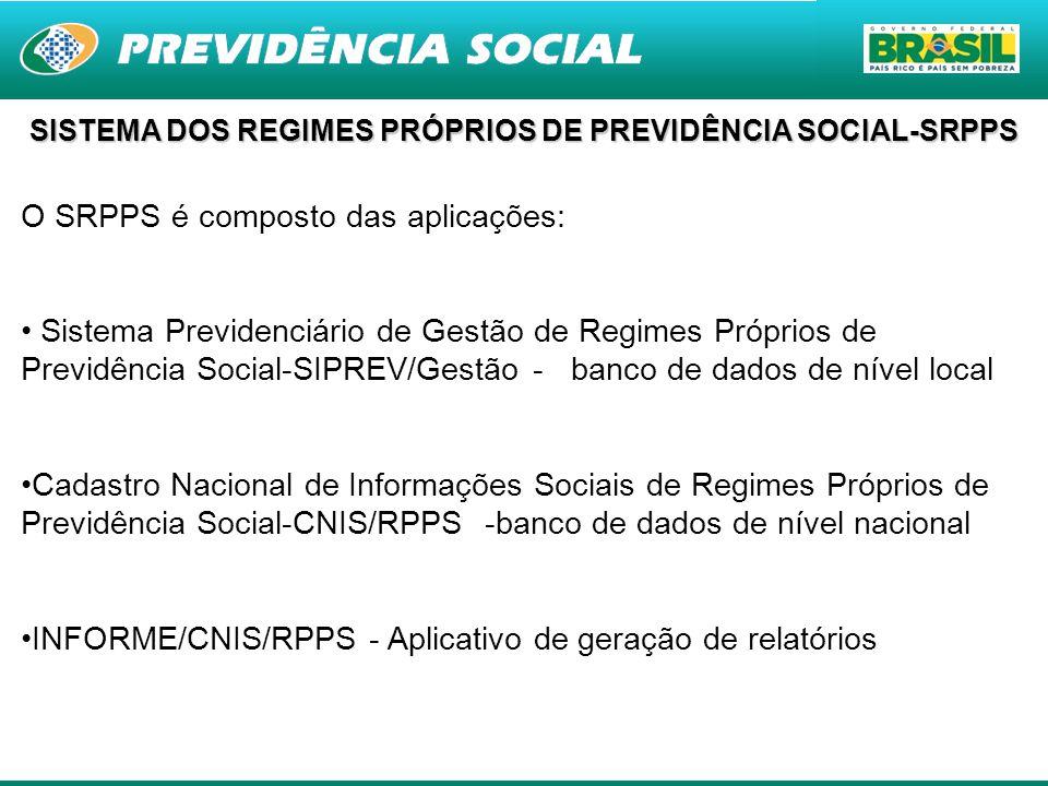 3 O SRPPS é composto das aplicações: Sistema Previdenciário de Gestão de Regimes Próprios de Previdência Social-SIPREV/Gestão - banco de dados de níve