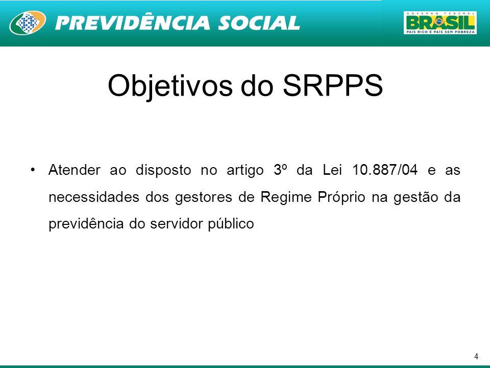 4 Objetivos do SRPPS Atender ao disposto no artigo 3º da Lei 10.887/04 e as necessidades dos gestores de Regime Próprio na gestão da previdência do se