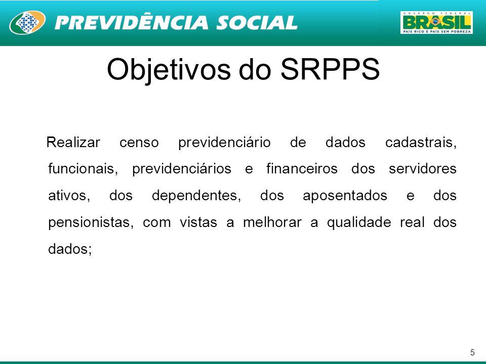 5 Objetivos do SRPPS Realizar censo previdenciário de dados cadastrais, funcionais, previdenciários e financeiros dos servidores ativos, dos dependent