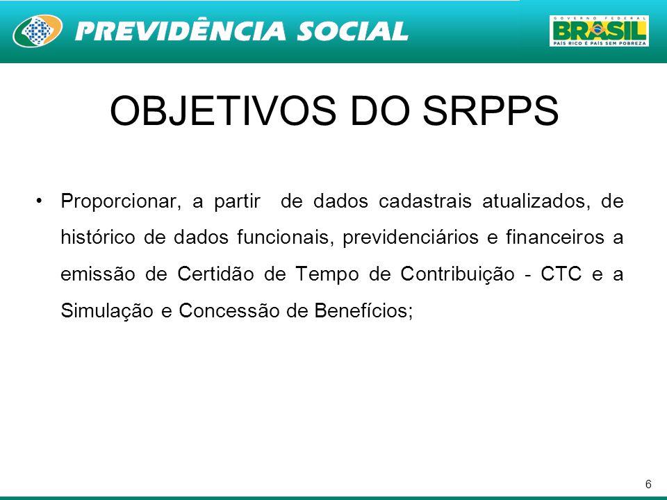 6 OBJETIVOS DO SRPPS Proporcionar, a partir de dados cadastrais atualizados, de histórico de dados funcionais, previdenciários e financeiros a emissão