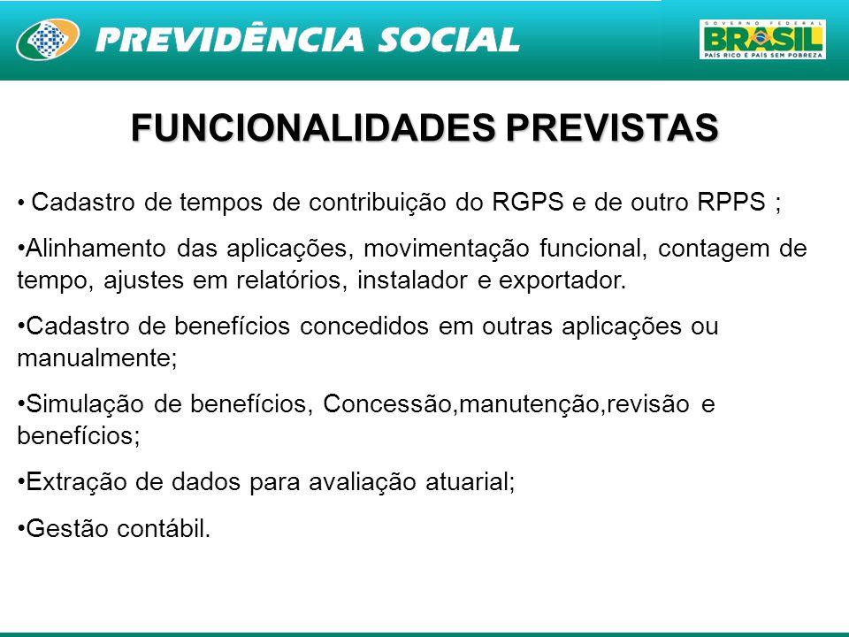 8 FUNCIONALIDADES PREVISTAS Cadastro de tempos de contribuição do RGPS e de outro RPPS ; Alinhamento das aplicações, movimentação funcional, contagem