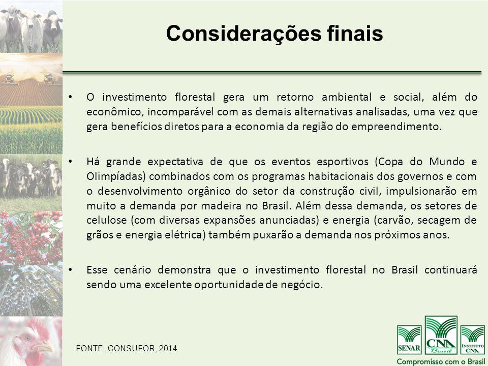Considerações finais O investimento florestal gera um retorno ambiental e social, além do econômico, incomparável com as demais alternativas analisadas, uma vez que gera benefícios diretos para a economia da região do empreendimento.