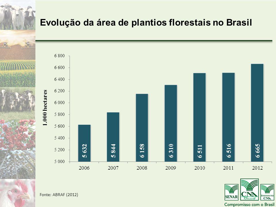 Evolução da área de plantios florestais no Brasil Fonte: ABRAF (2012)