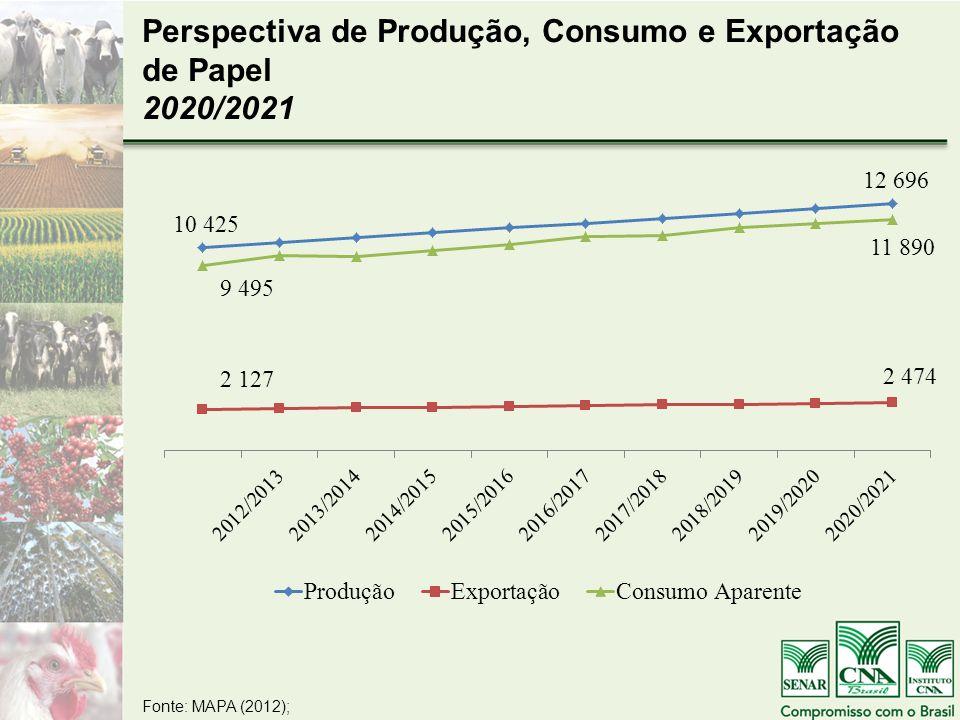 Fonte: MAPA (2012); Perspectiva de Produção, Consumo e Exportação de Papel 2020/2021