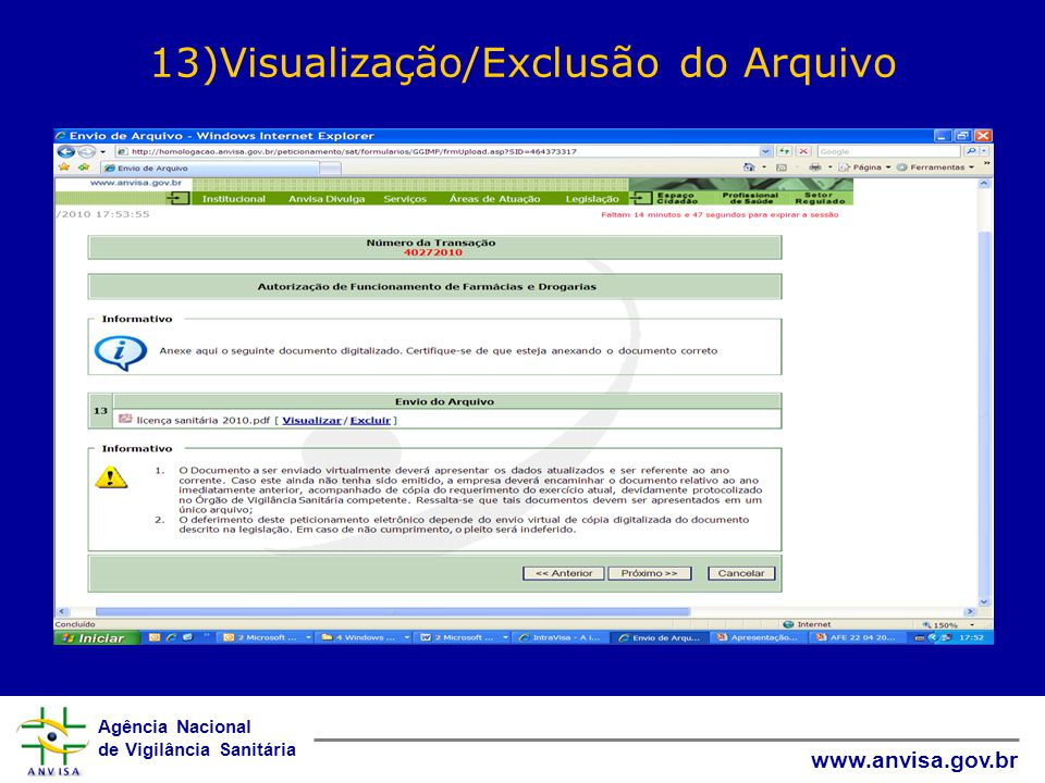 Agência Nacional de Vigilância Sanitária www.anvisa.gov.br 13)Visualização/Exclusão do Arquivo