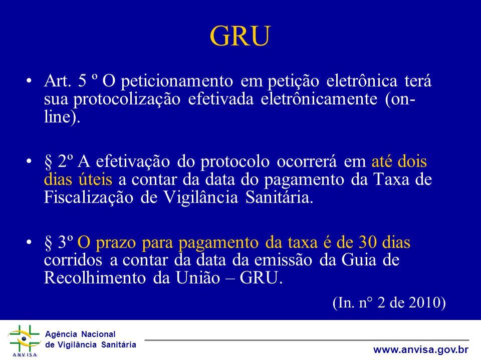 Agência Nacional de Vigilância Sanitária www.anvisa.gov.br GRU Art. 5 º O peticionamento em petição eletrônica terá sua protocolização efetivada eletr