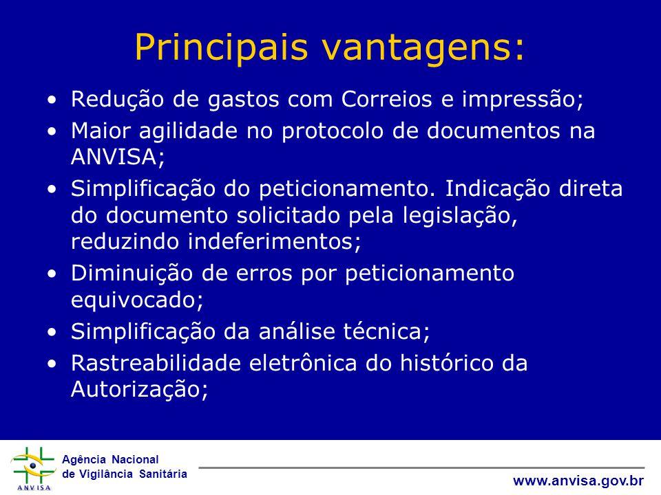 Agência Nacional de Vigilância Sanitária www.anvisa.gov.br Principais vantagens: Redução de gastos com Correios e impressão; Maior agilidade no protoc