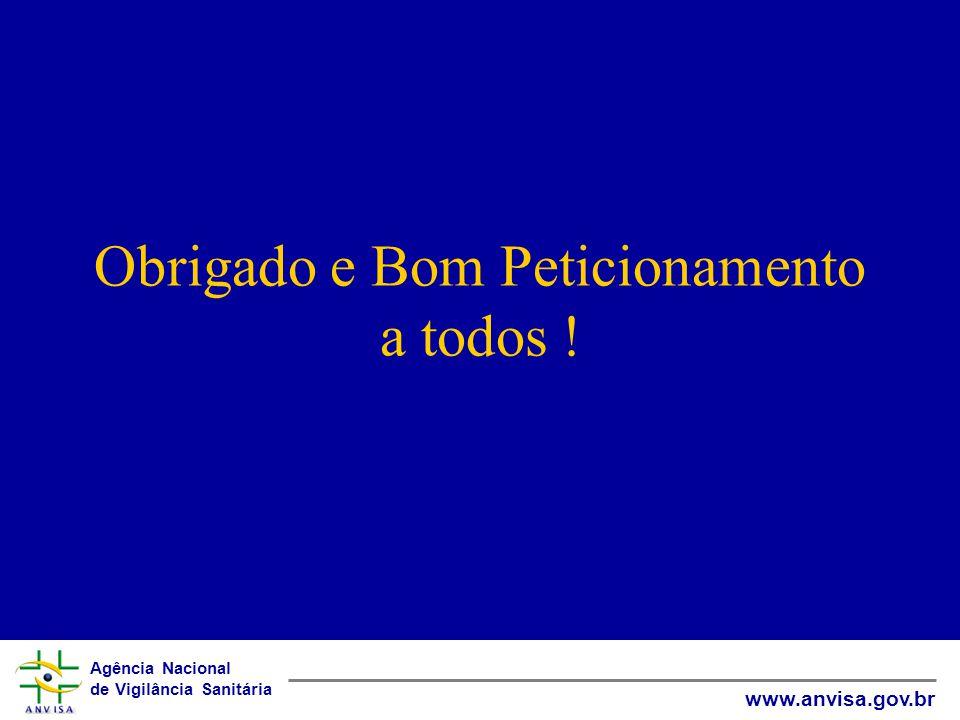 Agência Nacional de Vigilância Sanitária www.anvisa.gov.br Obrigado e Bom Peticionamento a todos !