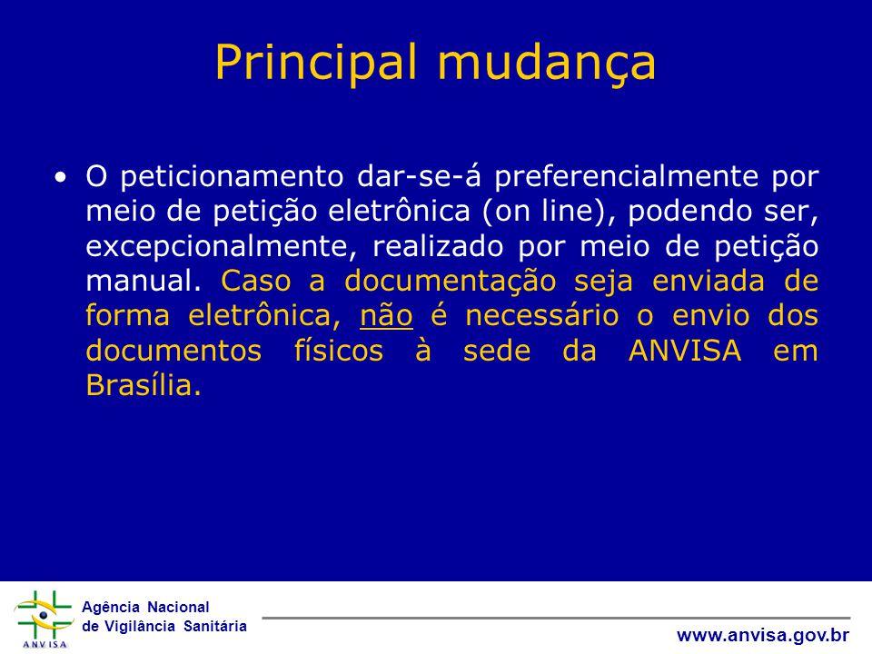 Agência Nacional de Vigilância Sanitária www.anvisa.gov.br Principal mudança O peticionamento dar-se-á preferencialmente por meio de petição eletrônic