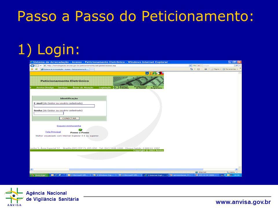 Agência Nacional de Vigilância Sanitária www.anvisa.gov.br Passo a Passo do Peticionamento: 1) Login: