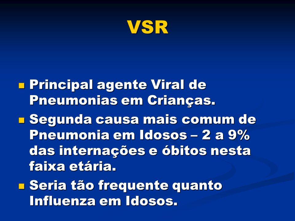 VSR Principal agente Viral de Pneumonias em Crianças. Principal agente Viral de Pneumonias em Crianças. Segunda causa mais comum de Pneumonia em Idoso