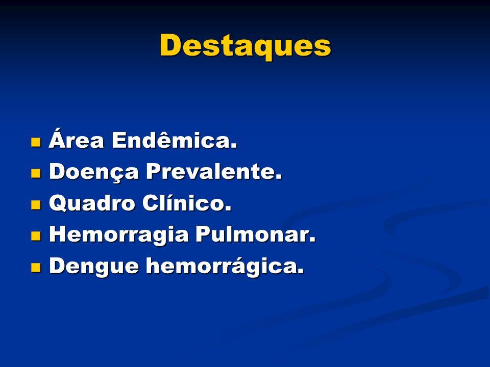 Destaques Área Endêmica. Área Endêmica. Doença Prevalente. Doença Prevalente. Quadro Clínico. Quadro Clínico. Hemorragia Pulmonar. Hemorragia Pulmonar