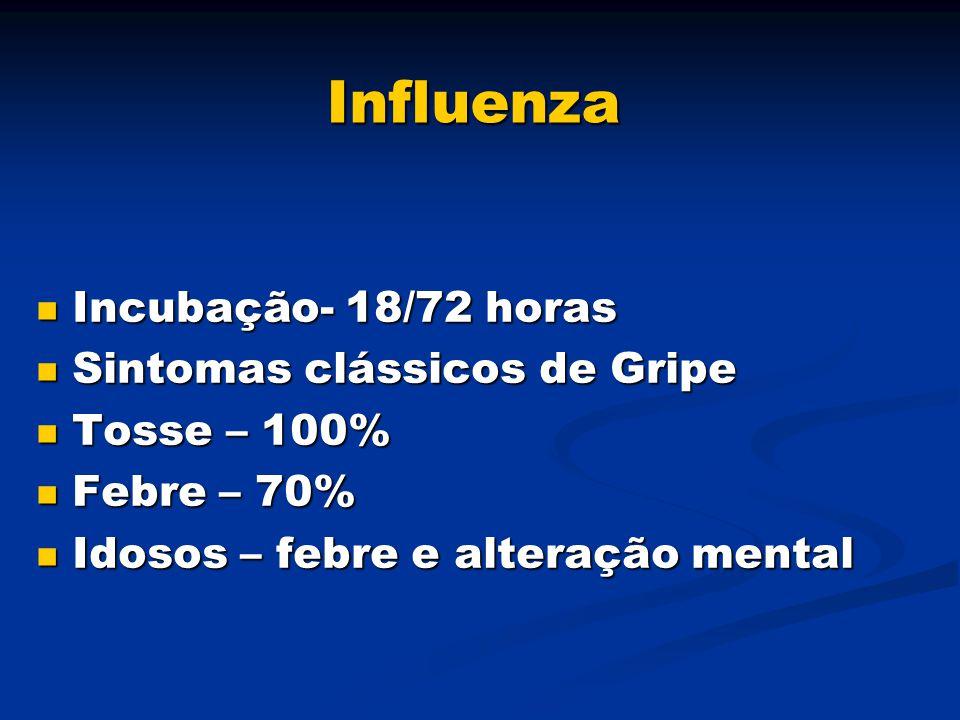 Influenza Incubação- 18/72 horas Incubação- 18/72 horas Sintomas clássicos de Gripe Sintomas clássicos de Gripe Tosse – 100% Tosse – 100% Febre – 70%