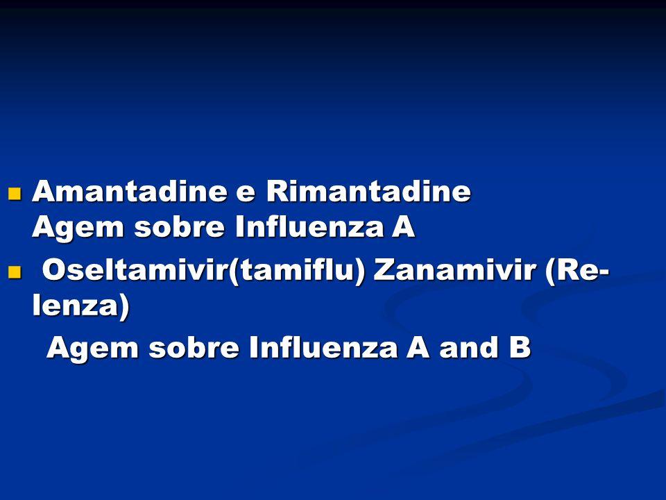Amantadine e Rimantadine Agem sobre Influenza A Amantadine e Rimantadine Agem sobre Influenza A Oseltamivir(tamiflu) Zanamivir (Re- lenza) Oseltamivir