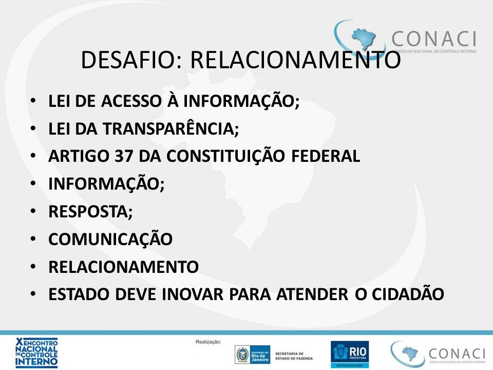 DESAFIO: RELACIONAMENTO LEI DE ACESSO À INFORMAÇÃO; LEI DA TRANSPARÊNCIA; ARTIGO 37 DA CONSTITUIÇÃO FEDERAL INFORMAÇÃO; RESPOSTA; COMUNICAÇÃO RELACION
