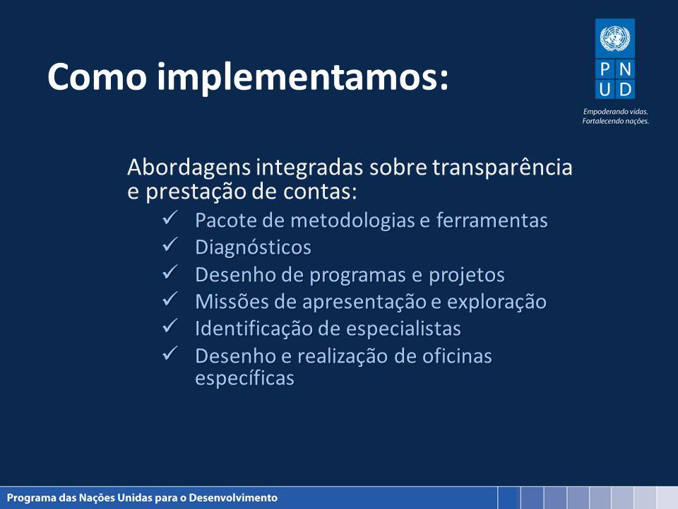 Como implementamos: Abordagens integradas sobre transparência e prestação de contas: Pacote de metodologias e ferramentas Pacote de metodologias e fer