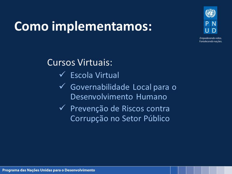 Como implementamos: Cursos Virtuais: Escola Virtual Governabilidade Local para o Desenvolvimento Humano Prevenção de Riscos contra Corrupção no Setor