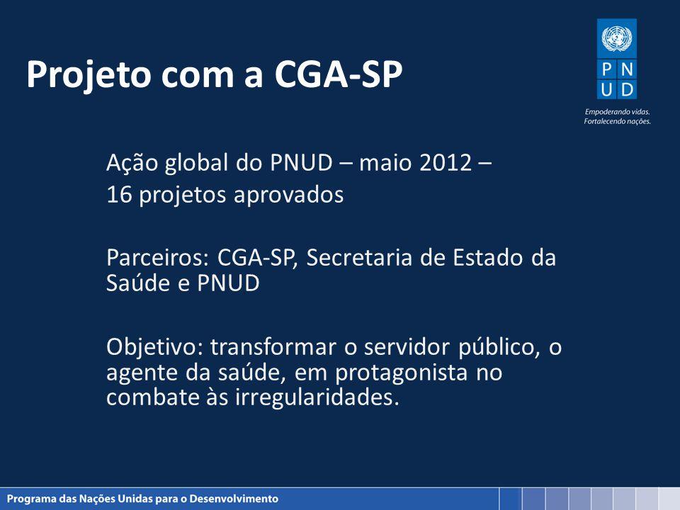 Projeto com a CGA-SP Ação global do PNUD – maio 2012 – 16 projetos aprovados Parceiros: CGA-SP, Secretaria de Estado da Saúde e PNUD Objetivo: transfo