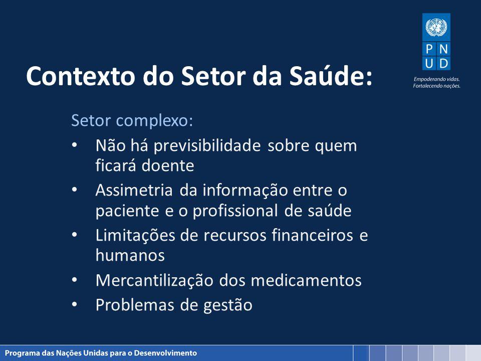Contexto do Setor da Saúde: Setor complexo: Não há previsibilidade sobre quem ficará doente Assimetria da informação entre o paciente e o profissional