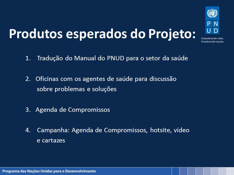 Produtos esperados do Projeto: 1.Tradução do Manual do PNUD para o setor da saúde 2. Oficinas com os agentes de saúde para discussão sobre problemas e