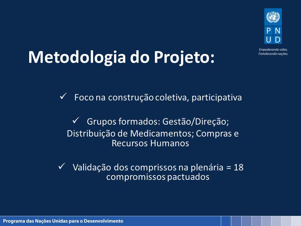 Metodologia do Projeto: Foco na construção coletiva, participativa Grupos formados: Gestão/Direção; Distribuição de Medicamentos; Compras e Recursos H