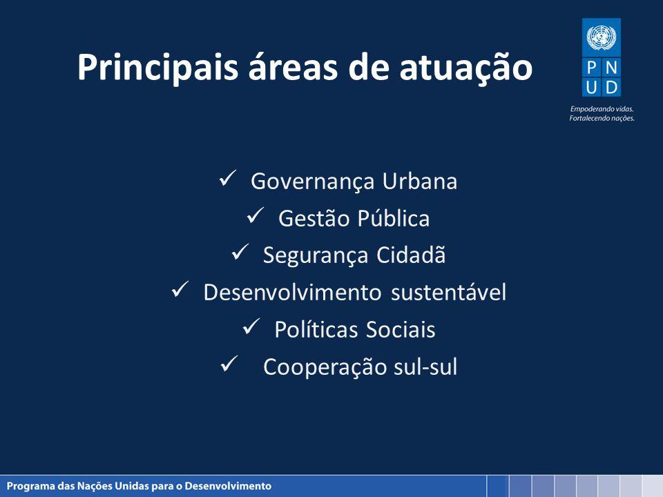 Principais áreas de atuação Governança Urbana Gestão Pública Segurança Cidadã Desenvolvimento sustentável Políticas Sociais Cooperação sul-sul