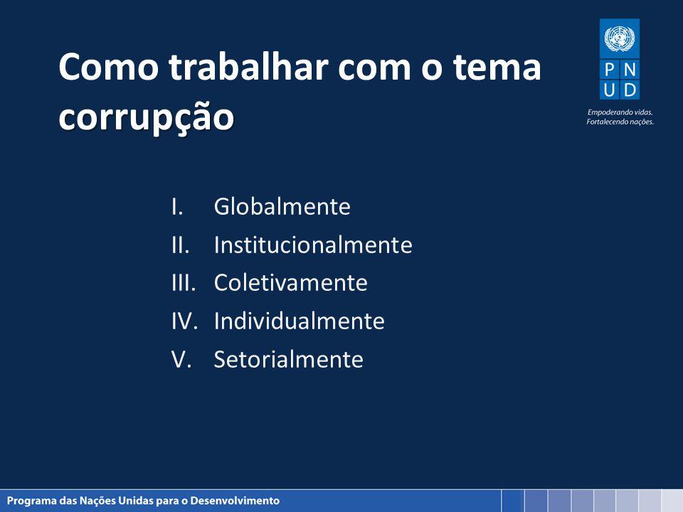 corrupção Como trabalhar com o tema corrupção I.Globalmente II.Institucionalmente III.Coletivamente IV.Individualmente V.Setorialmente