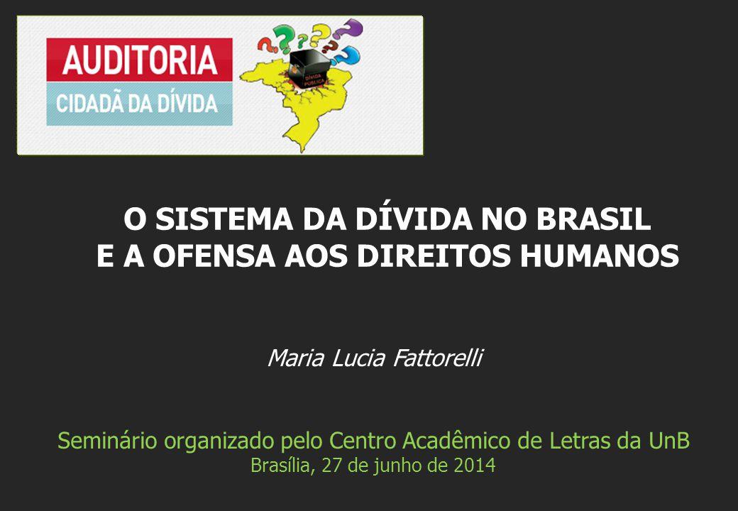 Maria Lucia Fattorelli Seminário organizado pelo Centro Acadêmico de Letras da UnB Brasília, 27 de junho de 2014 O SISTEMA DA DÍVIDA NO BRASIL E A OFENSA AOS DIREITOS HUMANOS
