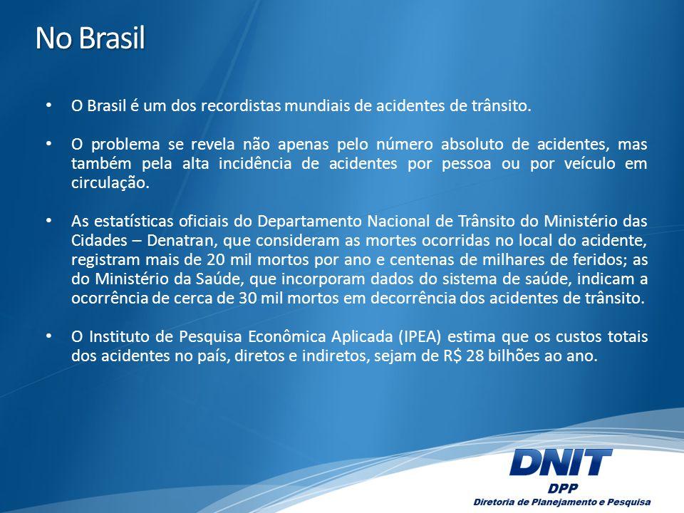 No Brasil O Brasil é um dos recordistas mundiais de acidentes de trânsito. O problema se revela não apenas pelo número absoluto de acidentes, mas tamb