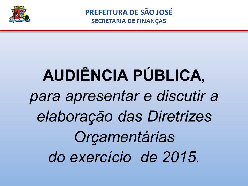 AUDIÊNCIA PÚBLICA, para apresentar e discutir a elaboração das Diretrizes Orçamentárias do exercício de 2015.