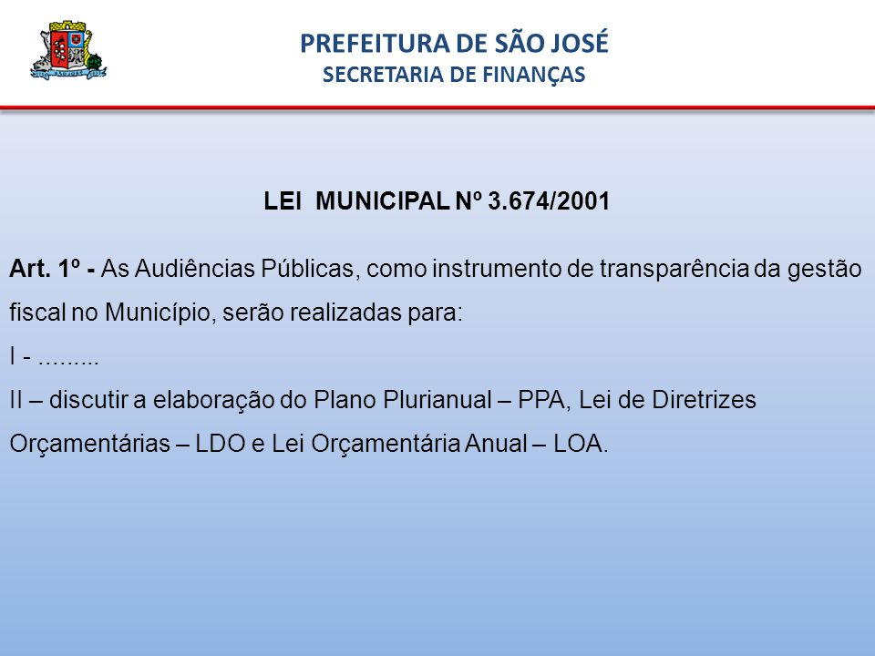 LEI MUNICIPAL Nº 3.674/2001 Art.