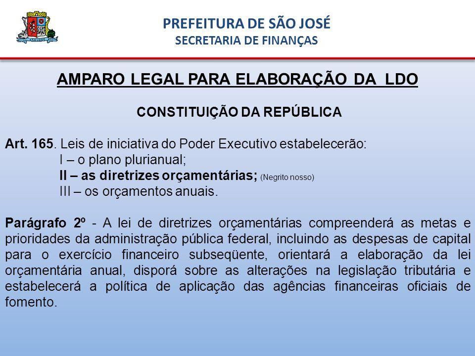 AMPARO LEGAL PARA ELABORAÇÃO DA LDO CONSTITUIÇÃO DA REPÚBLICA Art.