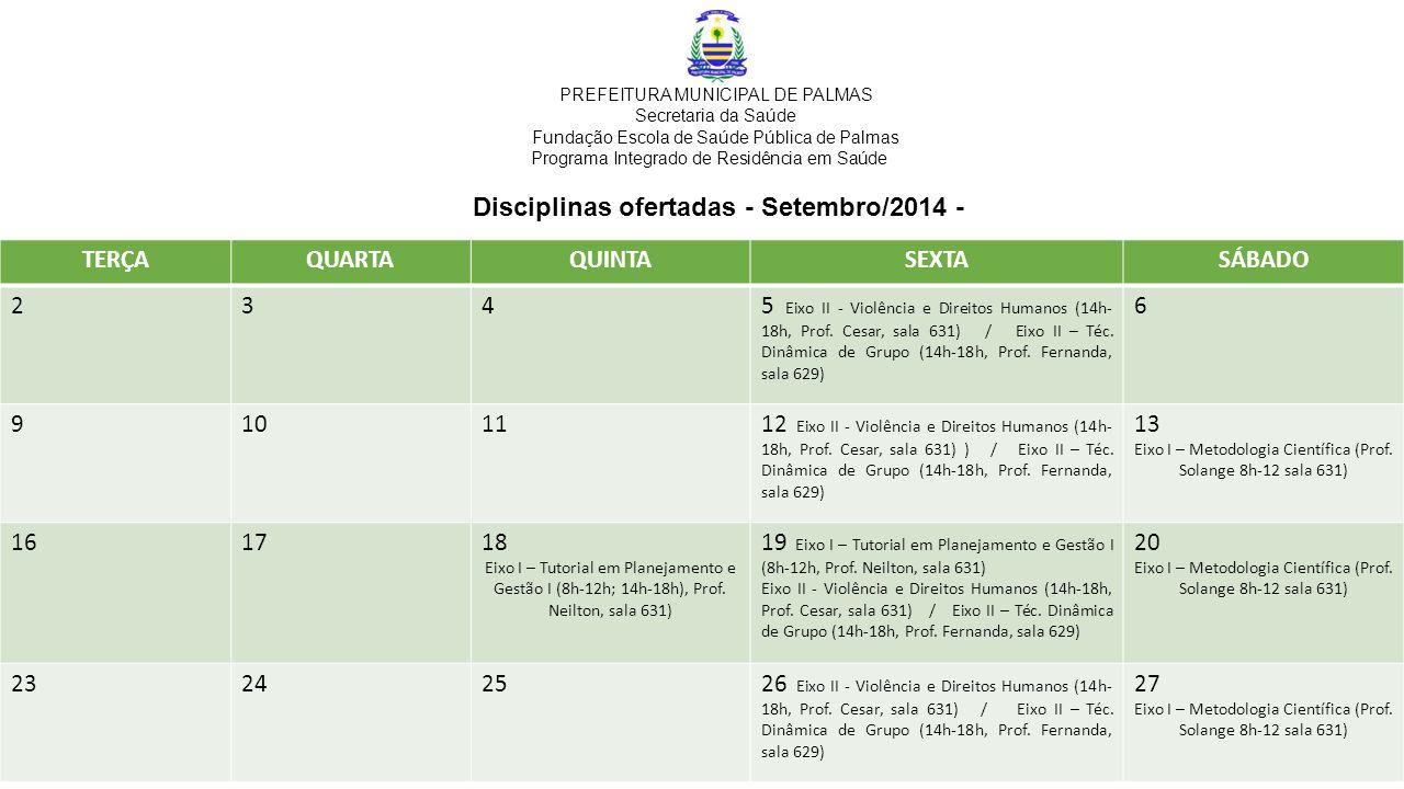 Disciplinas ofertadas - Setembro/2014 - TERÇAQUARTAQUINTASEXTASÁBADO 2345 Eixo II - Violência e Direitos Humanos (14h- 18h, Prof.