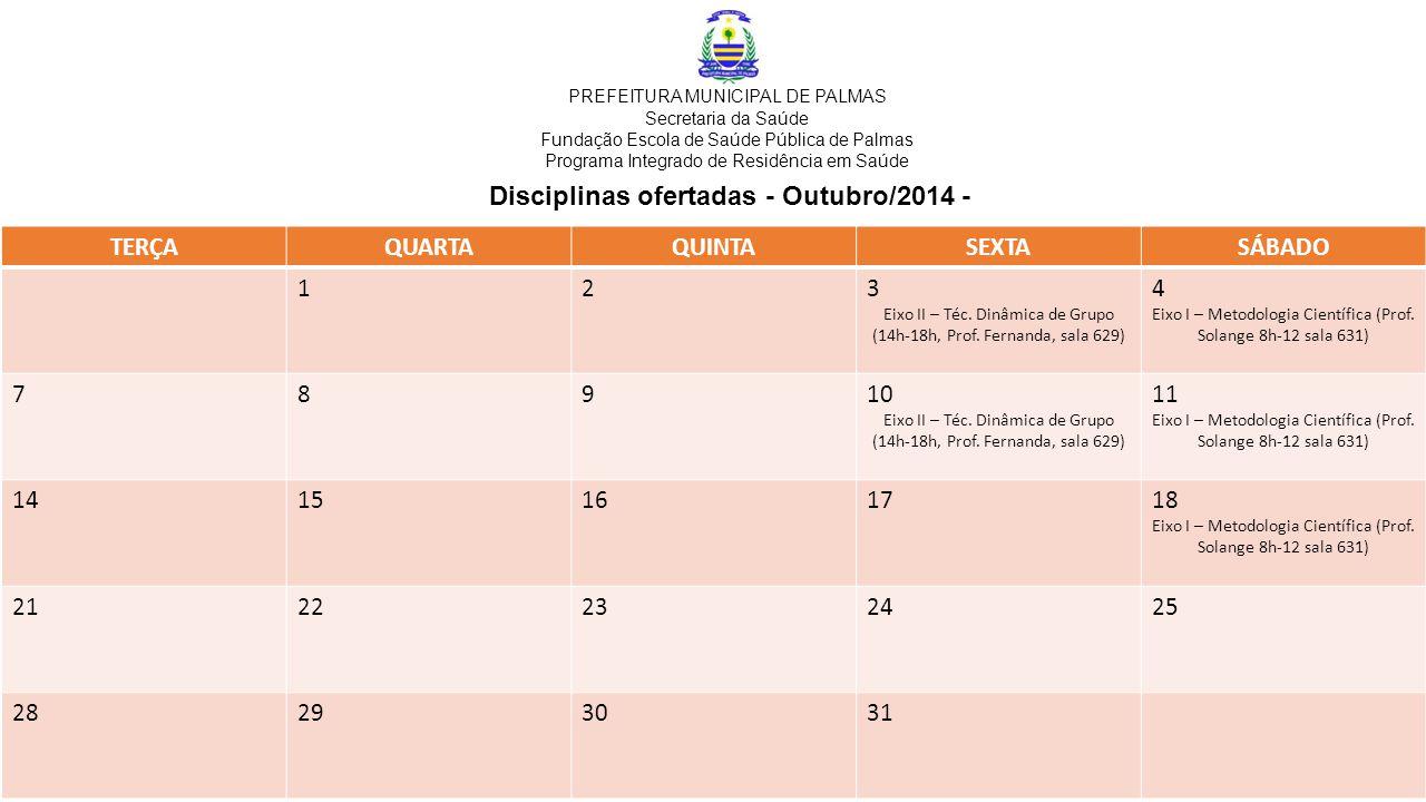 Disciplinas ofertadas - Outubro/2014 - TERÇAQUARTAQUINTASEXTASÁBADO 123 Eixo II – Téc.