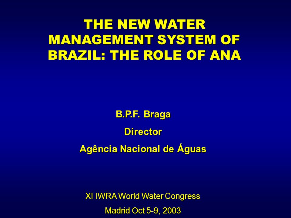  Reform of the water resources sector involved: decentralization of decisions; planning and management at the river basin level; independent regulation of water use and utilization of the user-pays and polluter-pays principle;  Appropriate legislation is a necessary condition, but is not sufficient.