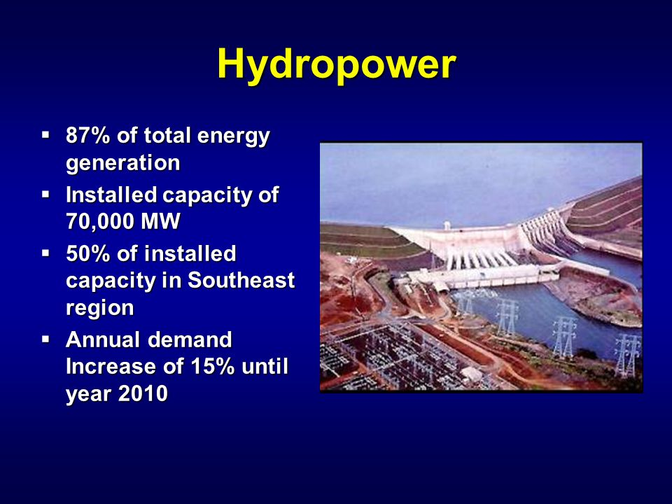 Hydropower  87% of total energy generation  Installed capacity of 70,000 MW  50% of installed capacity in Southeast region  Annual demand Increase
