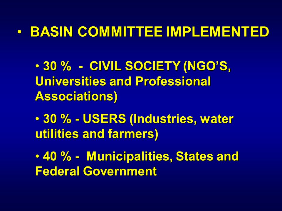 BASIN COMMITTEE IMPLEMENTED BASIN COMMITTEE IMPLEMENTED 30 % - CIVIL SOCIETY (NGO'S, Universities and Professional Associations) 30 % - CIVIL SOCIETY