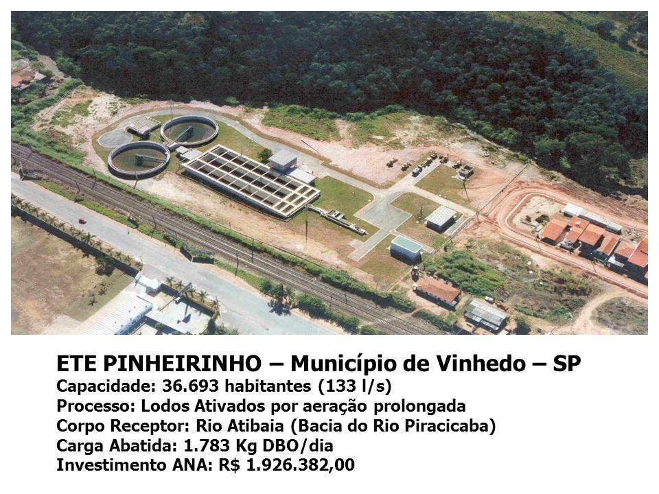 ETE PINHEIRINHO – Município de Vinhedo – SP Capacidade: 36.693 habitantes (133 l/s) Processo: Lodos Ativados por aeração prolongada Corpo Receptor: Rio Atibaia (Bacia do Rio Piracicaba) Carga Abatida: 1.783 Kg DBO/dia Investimento ANA: R$ 1.926.382,00
