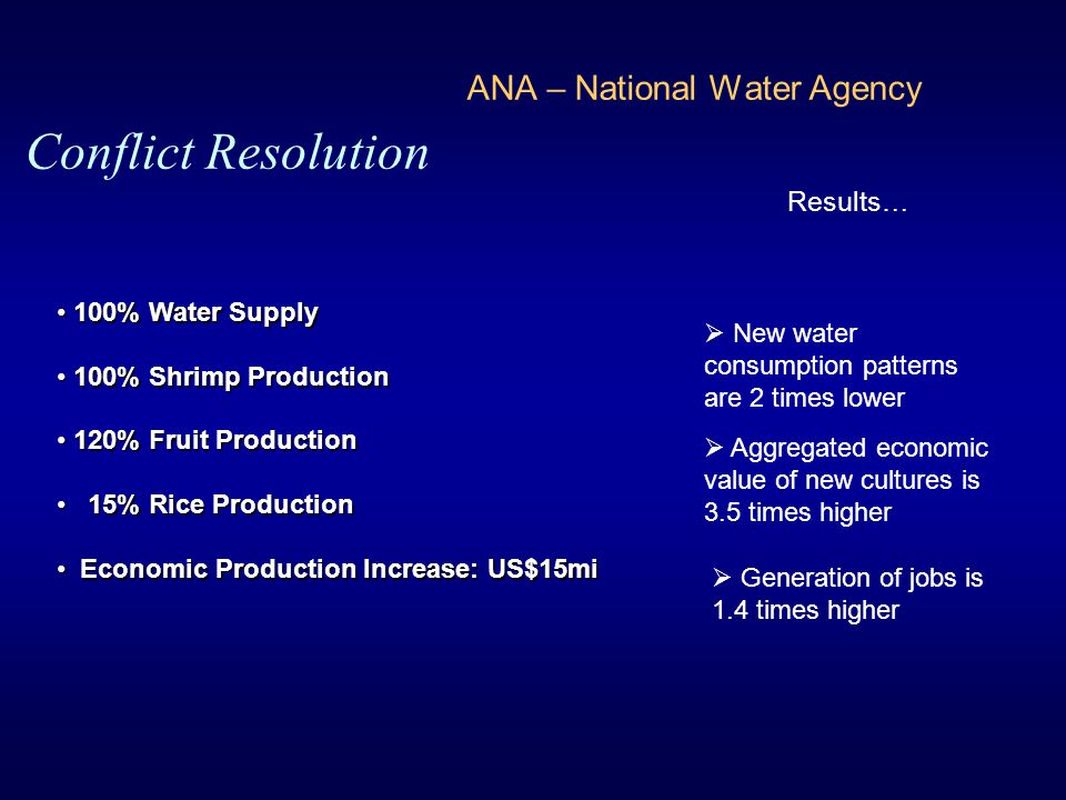 ANA – National Water Agency Conflict Resolution Results…  New water consumption patterns are 2 times lower  Aggregated economic value of new culture